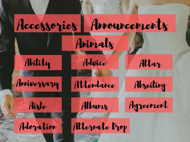 """A to Z of Weddings - """"A"""""""