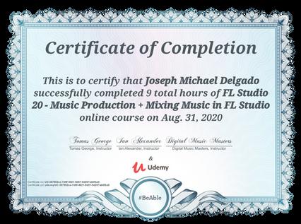 Mic Delgado Certificate of Completion FL Studio 20 Udemy