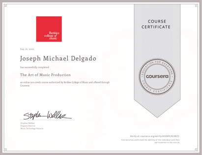 Mic Delgado Berklee Certificate Art of Music Production