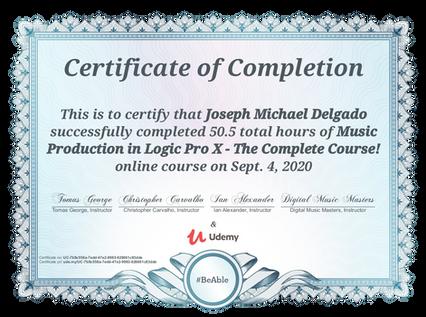 Mic Delgado Certificate of Completion Logic Pro X