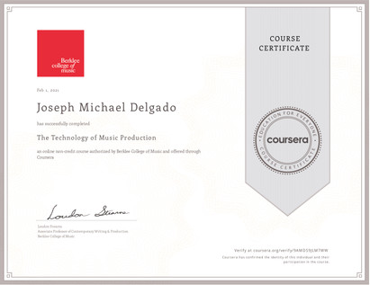 Mic Delgado Berklee Certificate Technology of Music Production