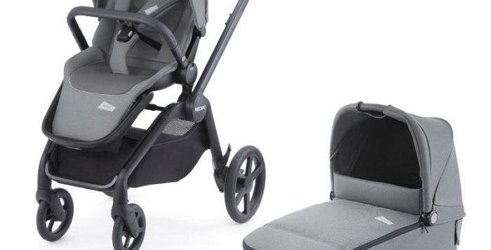 Recaro Celona Pushchair - Grey +Carrycot + Salia Elite Car Seat - Black