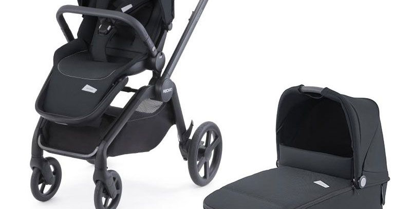 Recaro Celona Pushchair -Black + Carrycot  + Salia Elite Car Seat - Black