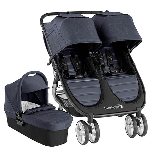 Baby Jogger City Mini 2 Double plus 1 x carrycot - Carbon