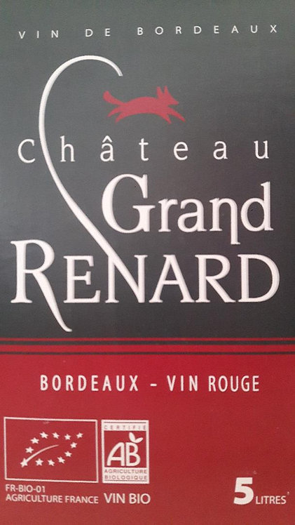 BIB GRAND RENARD rouge Bio - Bordeaux AOC 5 litres