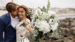 Flower bouquet and Bride and groom