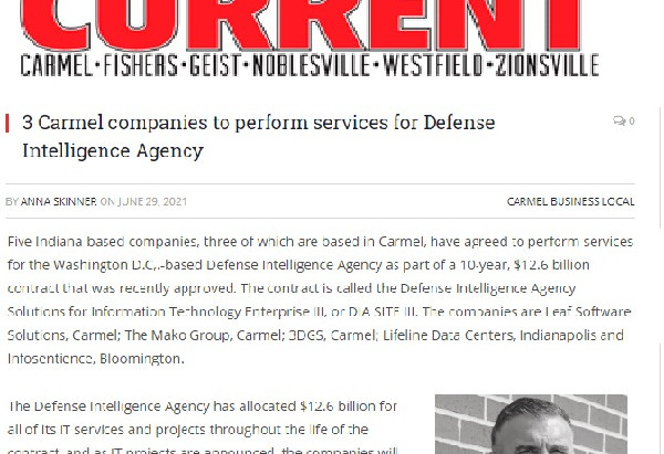 3 Carmel companies to perform services for Defense Intelligence Agency