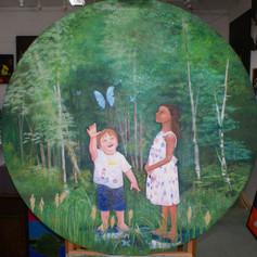 Papillion House School mural. 1.5m diame