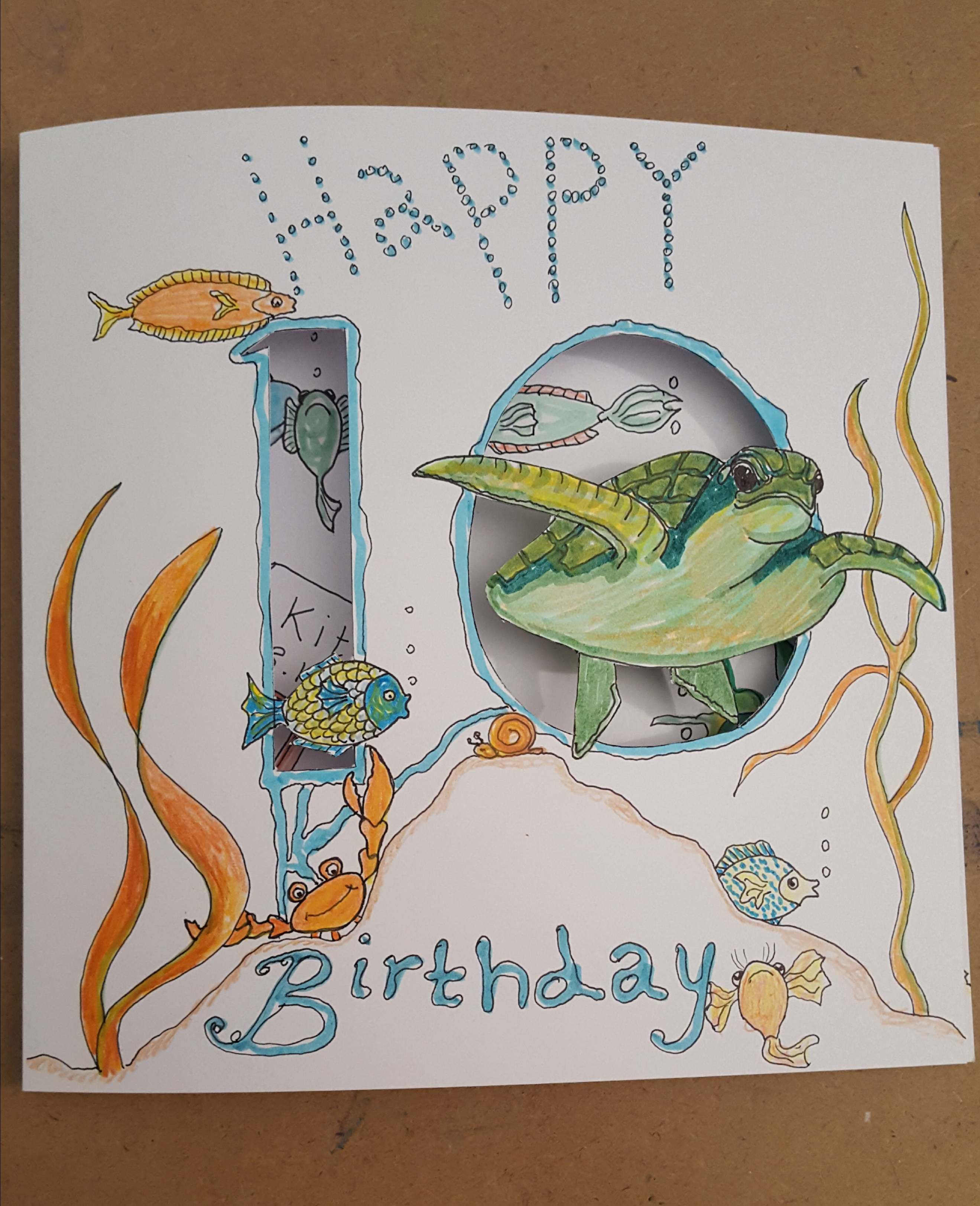 Turtle cutout  Birthday card for Kitty 1