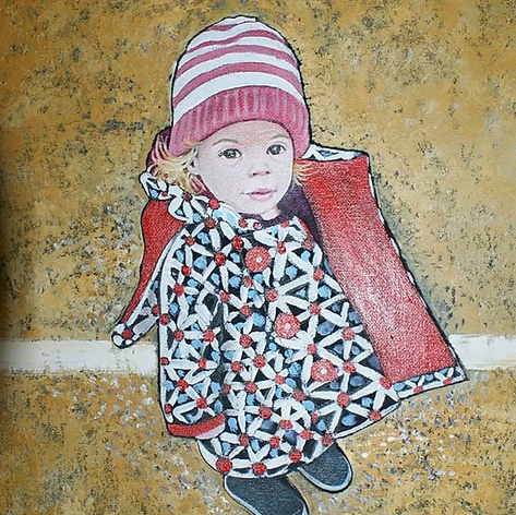 Im Waiting, Kitty aged 4 oil on canvas.3