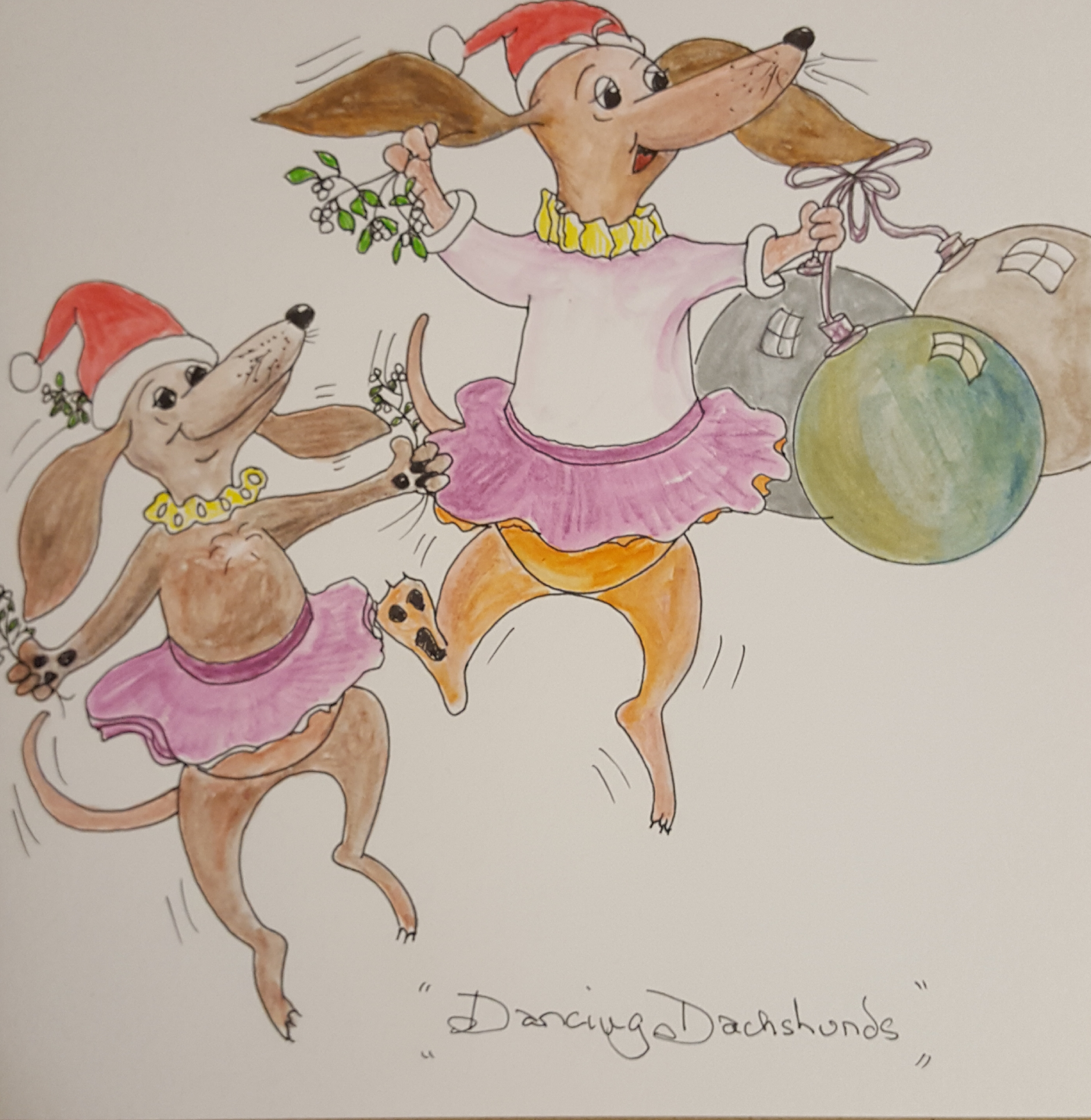 Dancing Dachshunds Sarahs Christmas card