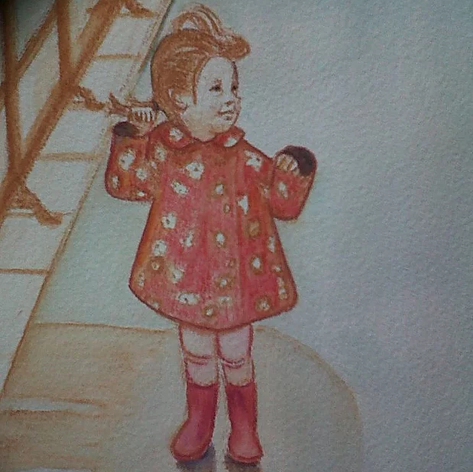 Jumping in puddles water colour on A4 pa