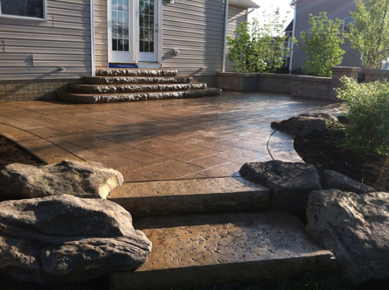 Brown Travertine Stamped Concrete