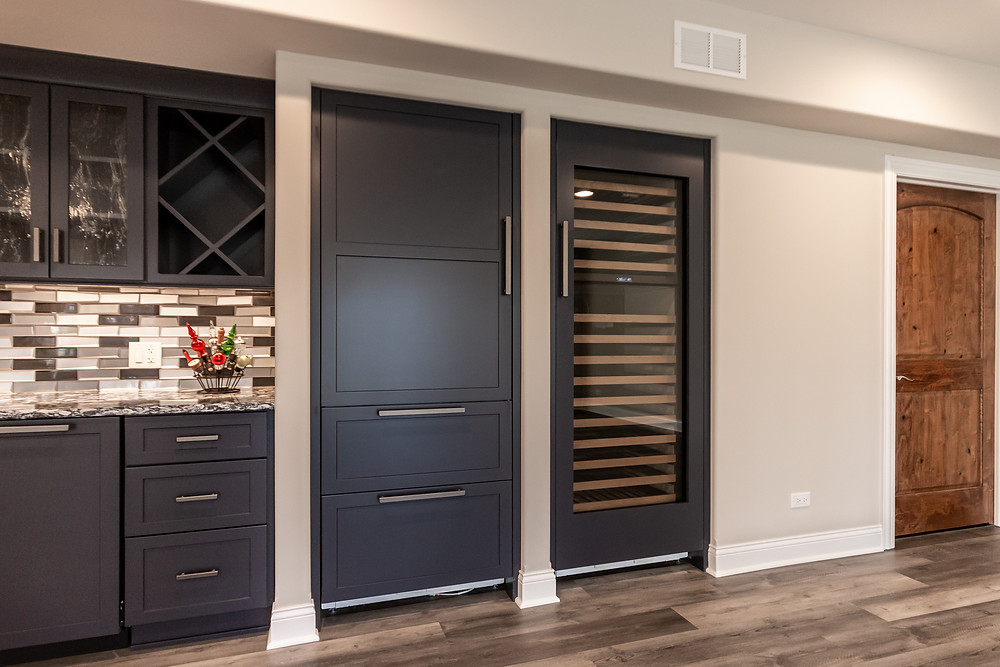 basement remodel with wine fridge and kitchenette
