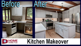Before & After Kitchen Renovation with Lovely Mist Colored Cabinetry
