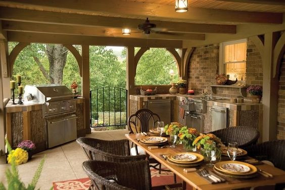 Outdoor Kitchen Ideas  with Covered Patio