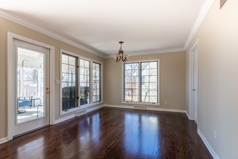dining room wood floor after remodel