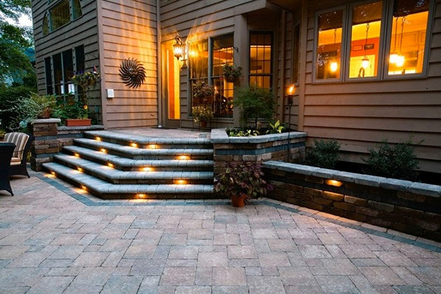 paver patio and outdoor lighting