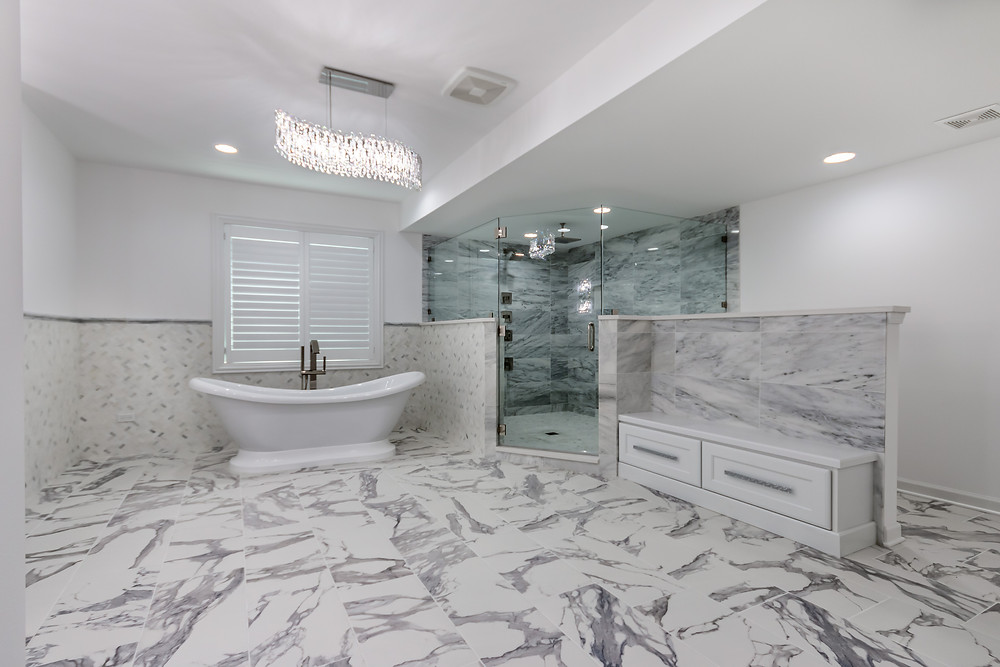 basement bath with soaker tub and walk-in shower
