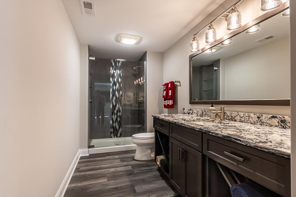 full bathroom added to basement