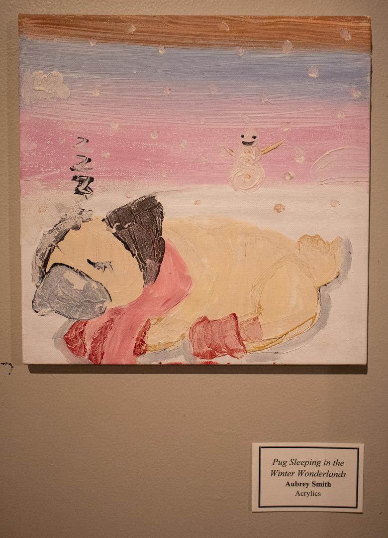 Pug Sleeping in the Winter Wonderlands by Aubrey  Smith