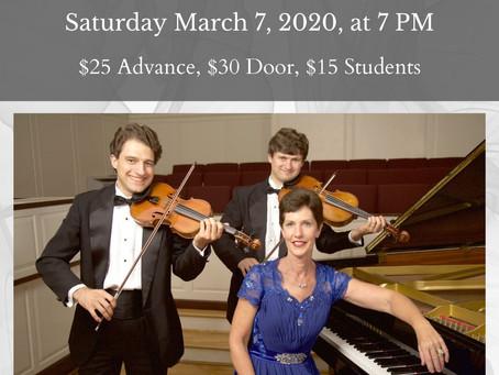 The Rainier Trio in Concert Saturday March 7 at 7 pm
