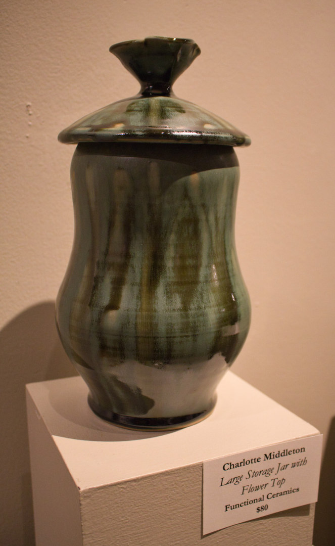 Large Storage Jar with Flower Top by Charlotte Middleton