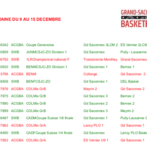 Matchs du 09 au 15 décembre