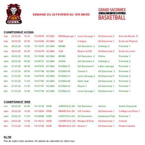 Matchs du 24 février au 1er mars