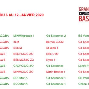 Matchs du 6 au 12 janvier
