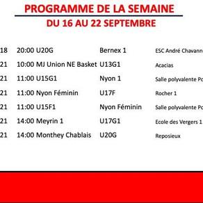Programme des matches -  Semaine du  16 au 22 septembre 2019