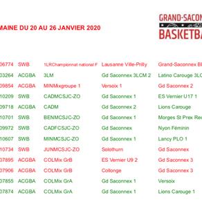 Matchs du 20 au 26 janvier