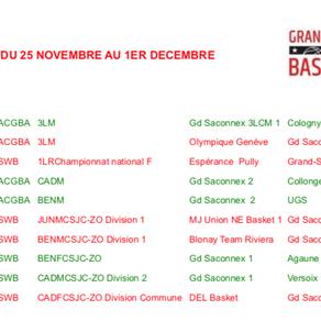 Matchs du 25 novembre au 1er décembre