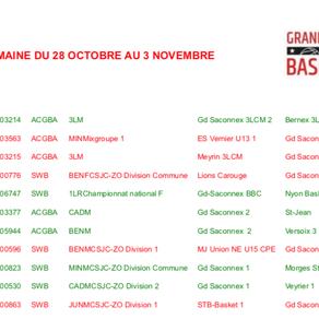 Programme des matchs - Semaine du 28 octobre au 3 novembre 2019