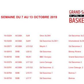 Programme des matchs - Semaine du 7 au 13 octobre 2019