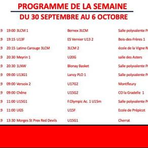 Programme des match - Semaine du 30 septembre au 6 octobre 2019