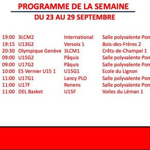 Programme des matchs - Semaine du 23 au 29 semaine 2019