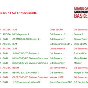 Matchs du 11 au 17 novembre