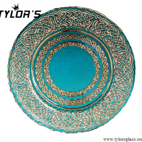 Tylors Turquoise and Decorated Gold Charger Plates,120pcs/Lot