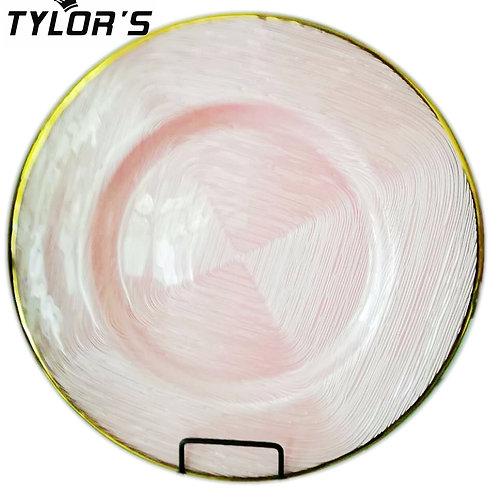 Cheap Gold Rim Blush Pink Charger Plates,120pcs/Lot