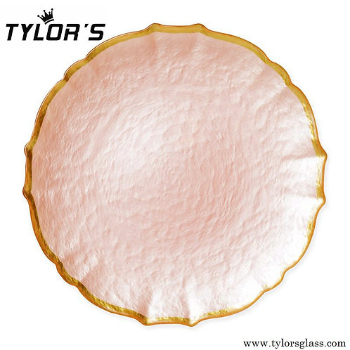 Tylors Blush Pink Charger Plates with Gold Rim,120pcs/Lot