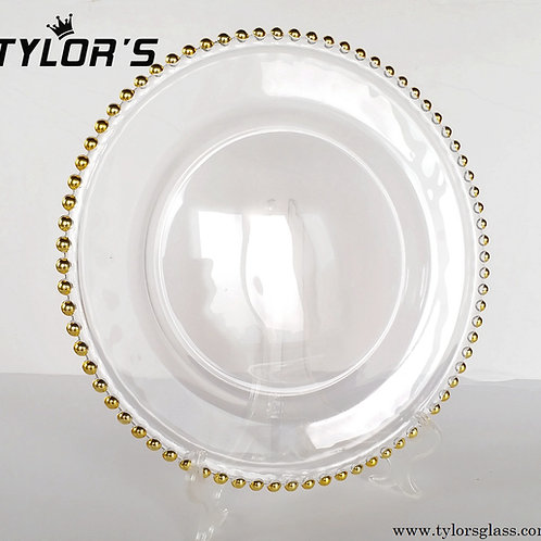 Tylors Glass Gold Beaded Charger Plates for Wedding,120pcs/Lot