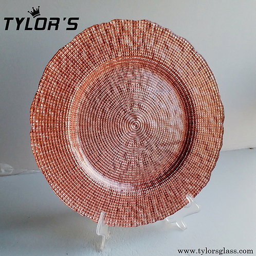 Tylors Cheap Glass Rose Gold Charger Plates,120pcs/Lot