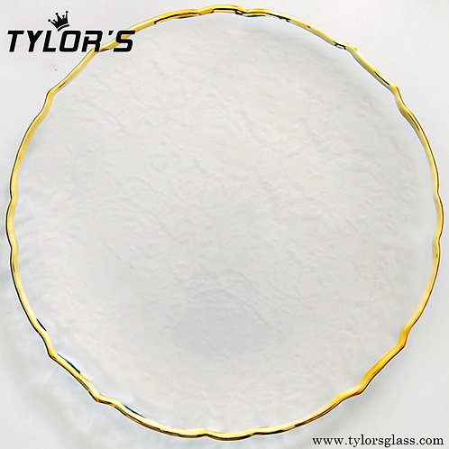 TYLORS Clear Charger Plates with Gold Rim,120pcs/Lot