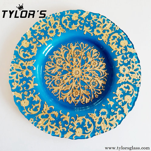 Cheap Blue Charger Plates with Gold Decor,120pcs/Lot