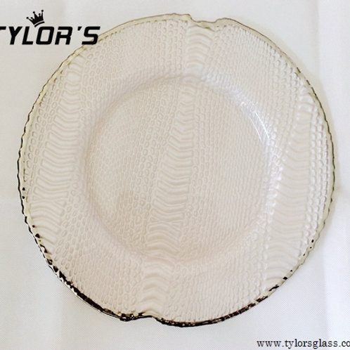 TYLORS White Charger Plates with Silver Rim Decor,120pcs/Lot