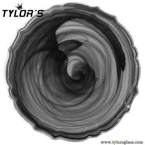 TYLORS Black Cloud Charger Plates with Silver Rim,120pcs/Lot