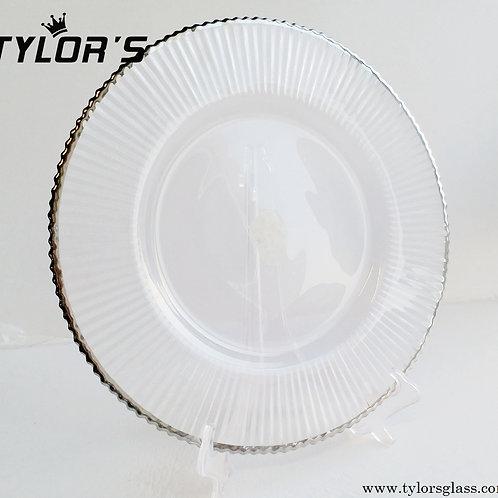Cheap Bulk Silver Rim Clear Charger Plates, Set of 120pcs
