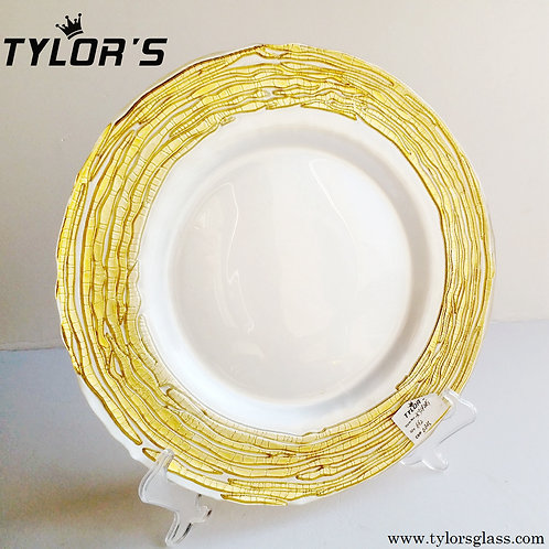 Bulk Gold and White Charger Plates Decoration,120pcs/Lot