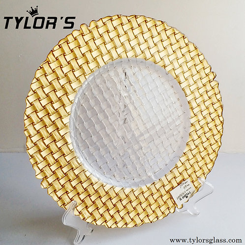 Cheap Braided Glass Gold Charger Plates,120pcs/Lot